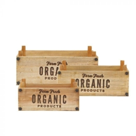 Rectangular Organic Lined Wooden Crate Set