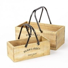 Wooden Boxes with Metal Handles Herb Garden